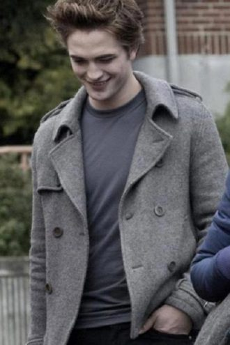 Edward Cullen Twilight Robert Pattinson Grey Wool Jacket