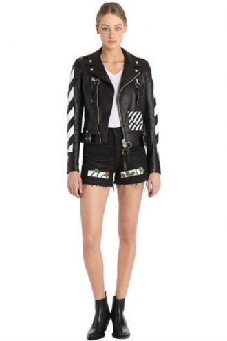 iconic Modish Diagonal Stripes Leather Jacket