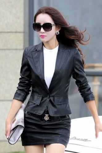Spring Single Button Style slim fit Black Blazer