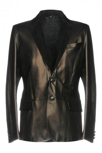 Two Button Black Men Leather Blazer
