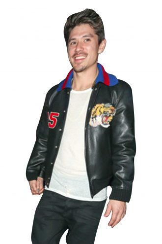 Bryan Tanaka Black Leather Logo Jacket