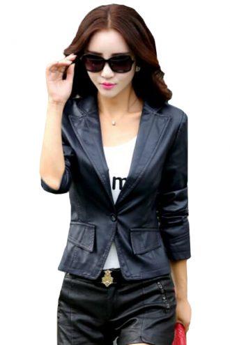 Button Black slim fit Blazer