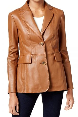 Genuine Leather Casual Blazer