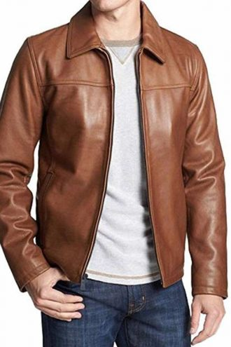 Mens-Casual-Brown-Leather-Shirt-Style-Collar-Leather-Jacket