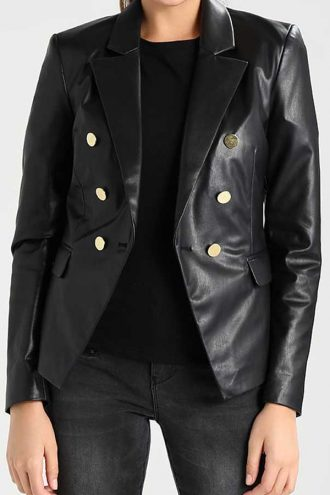 Black-Leather-Womens-Double-Breasted-Blazer-Jacket