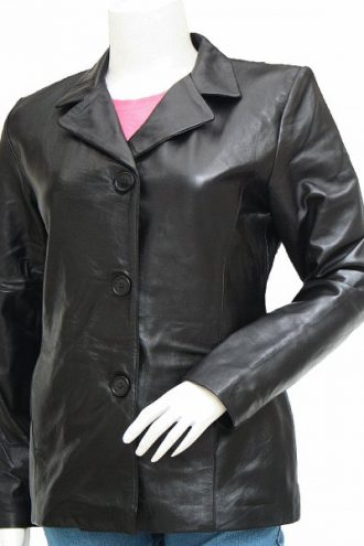 Black Women's Leather Blazer