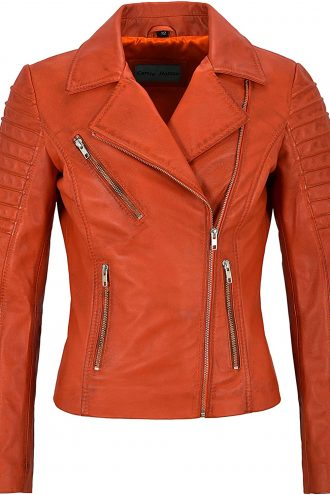 Classic Orange Mila Kunis Women Leather Jacket