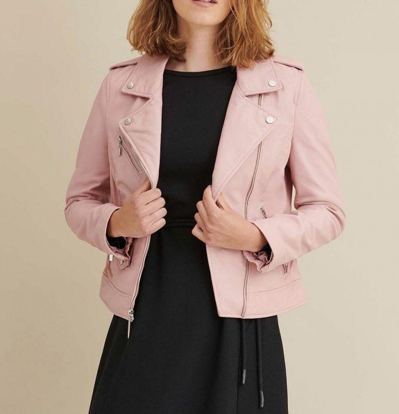 Trendy Blush color leather Jacket
