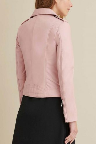 Trendy Blush color leather Jacket