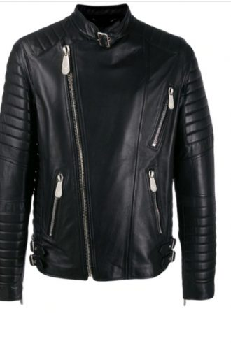 Trendy Black Color Biker Jacket For Men