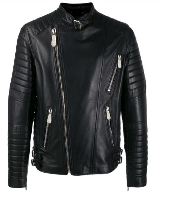 Trendy Black Color Biker Jacket For Men