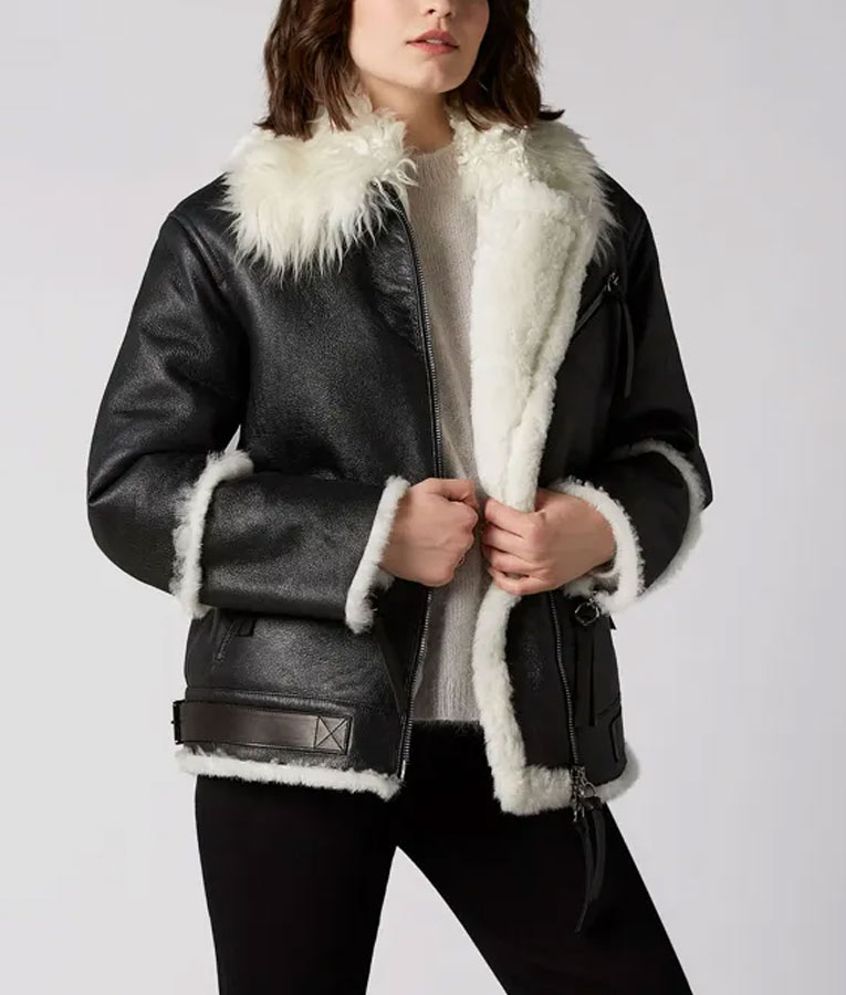 White Aviator Shearling Jacket