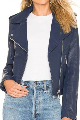 Women Classic Blue Leather Jacket