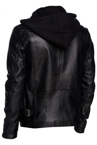 Classic Hooded Leather Jacket