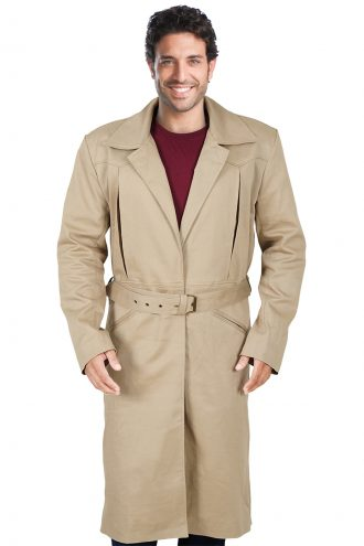 Brown cotton trench coat for cozy winter
