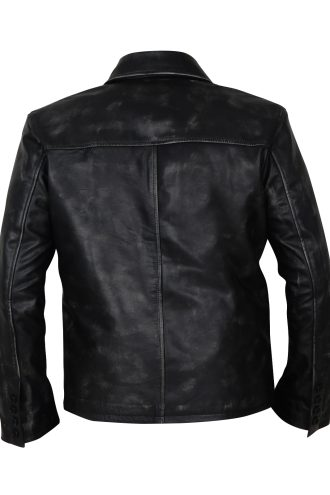Black distressed leather jacket for men