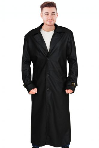Black winter soldier black leather coat