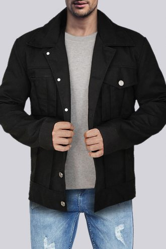 Men Black Cotton Jacket